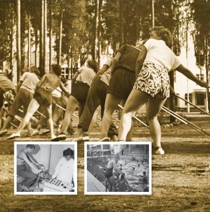 Kuvituskuva naisista harjoittelemassa keihäänheittoa 1950–1960-luvulla.